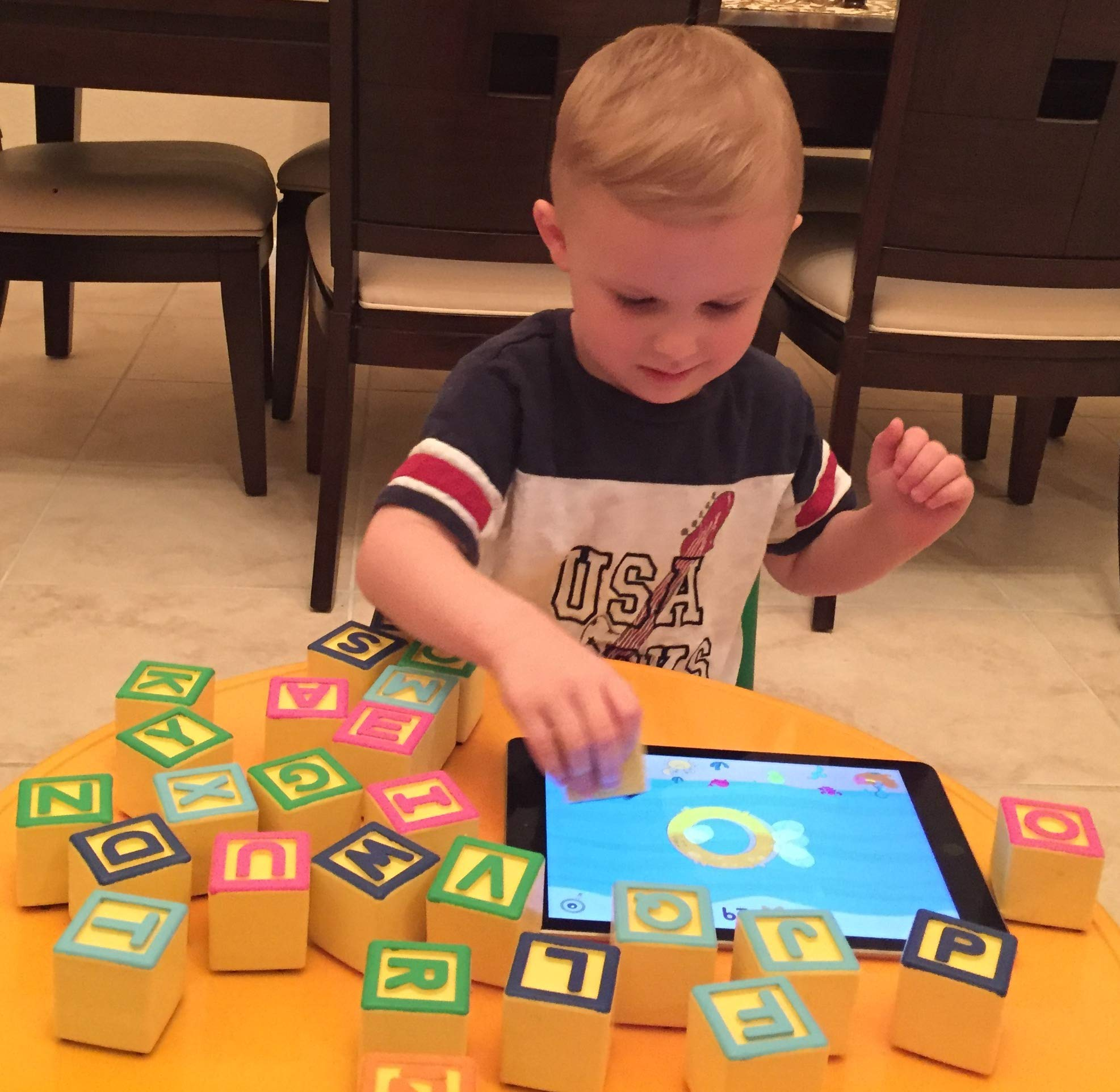 Montessori Toys for ABC Learning | Smart Alphabet Blocks for Interactive Educational iPad Games for Preschool & Kindergarten | Learn English & Spanish | Toddlers & Kids 1-6 | Includes 5 Free Apps by AlphaTechBlocks (Image #5)