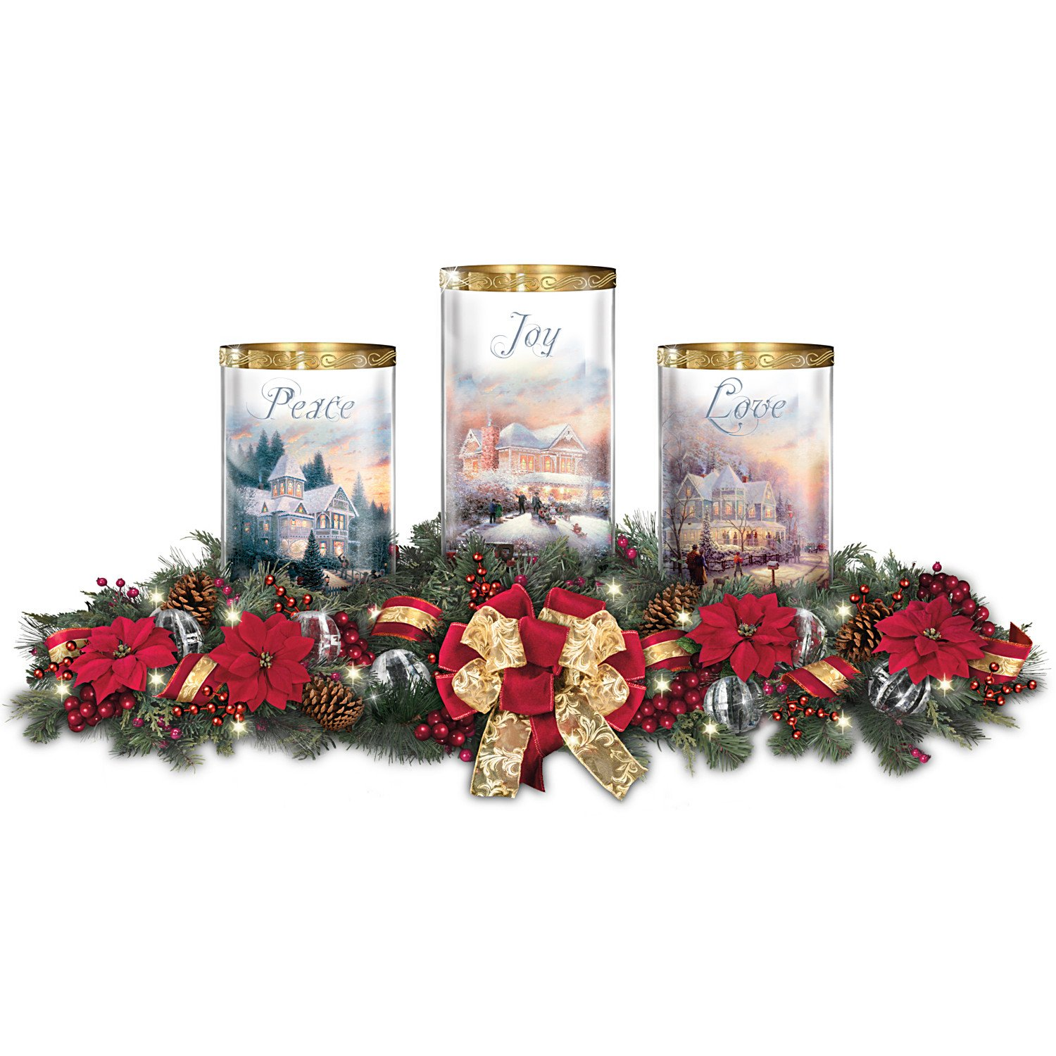 Thomas Kinkade Holiday Artwork Lighted Centerpiece with Flameless Candles by The Bradford Exchange