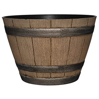 Classic Home and Garden 15  Whiskey Barrel, 15 , Distressed Oak