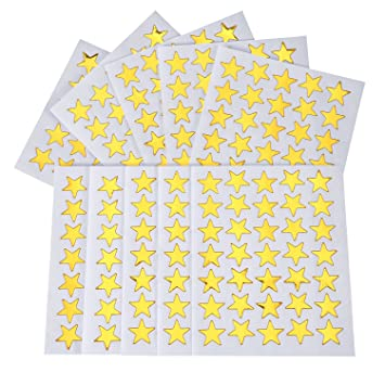 Self Adhesive Vinyl Labels size 9mm each 50 Gold Star Merit Stickers