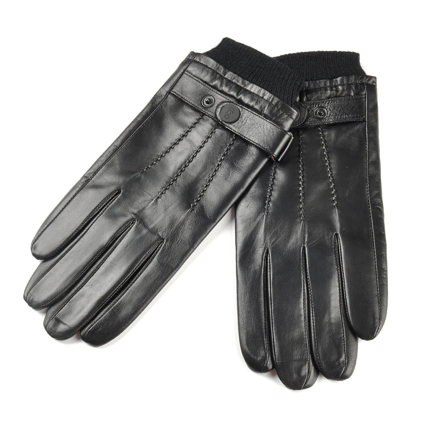 SIEFERSN Classic Style Rib Cuff Men's Lambskin Full Touchscreen Gloves Cold Weather Leather Gloves 1164225016 (Medium 8.5'', Black (Full Touchscreen/Soft flannel Lining))