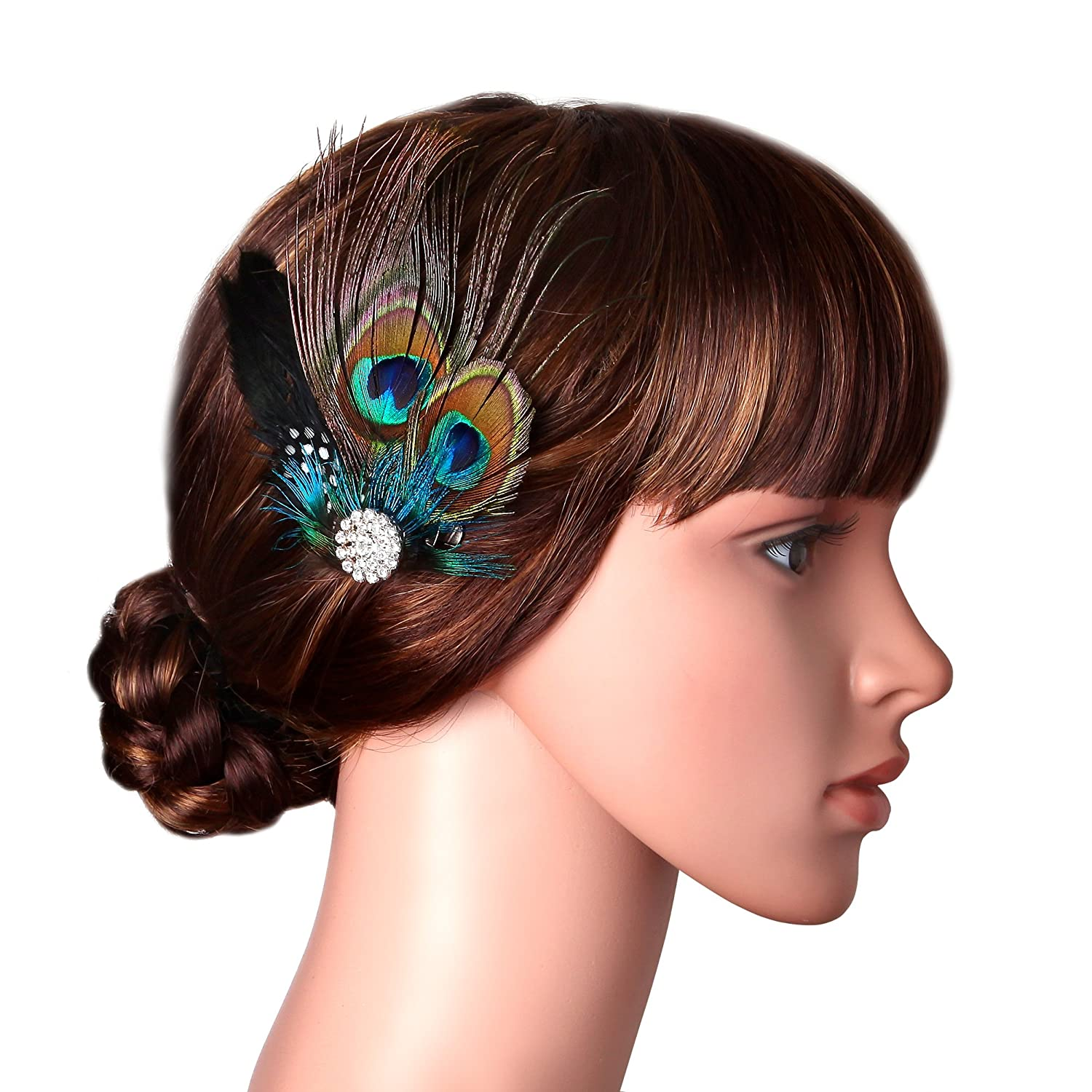 BABEYOND Peacock Hair Clip Peacock Fascinator Roaring 1920s Pearl & Peacock Flapper Fascinator Peacock Feather Hair Clip (Style-5)