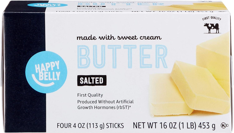 Amazon Brand - Happy Belly Salted Butter Sticks, 16 oz. (4 Four Oz. Sticks)