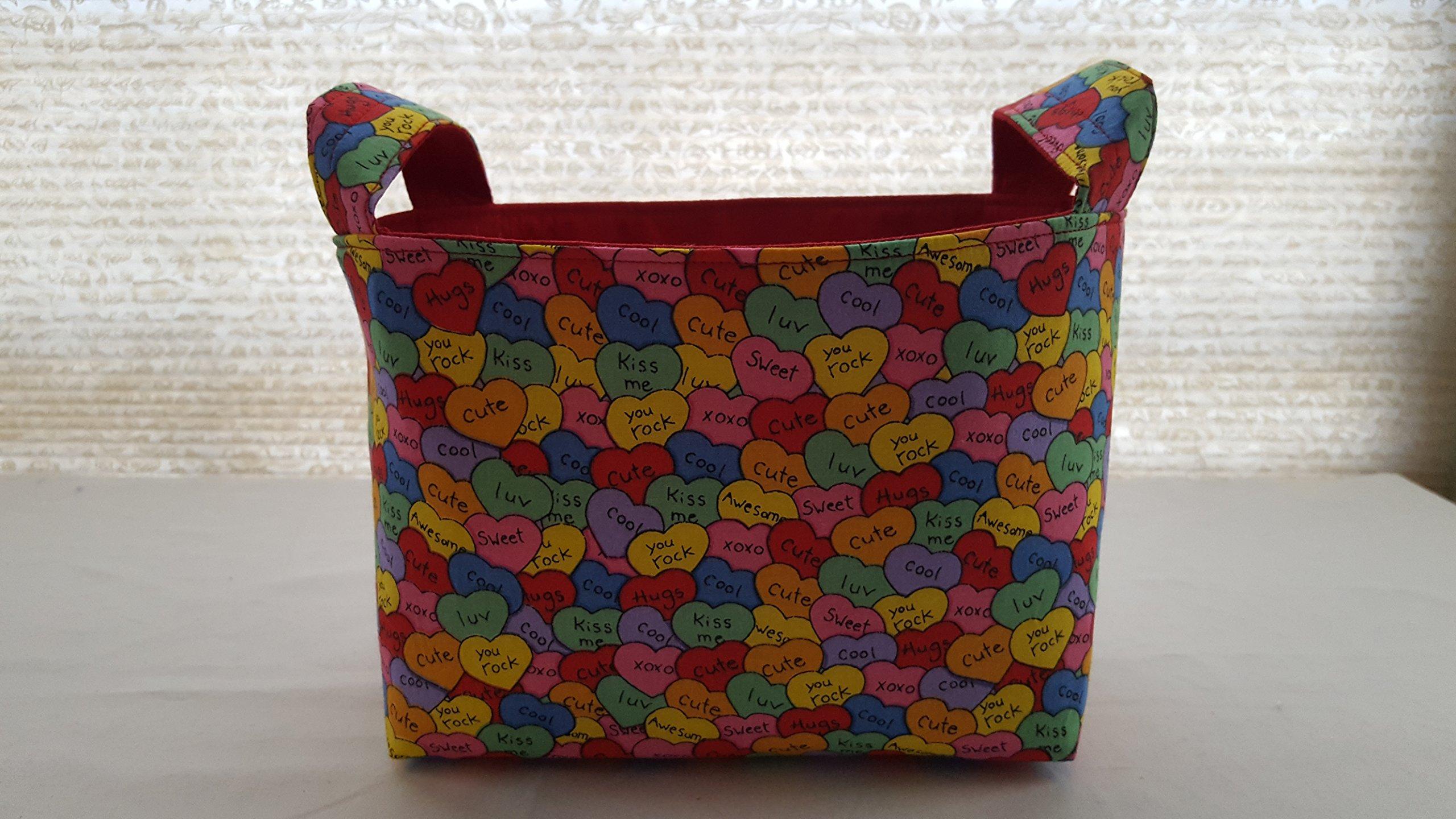 Valentine's Day Fabric Organizer Basket Bin Caddy Storage Container - Valentine Love Kisses