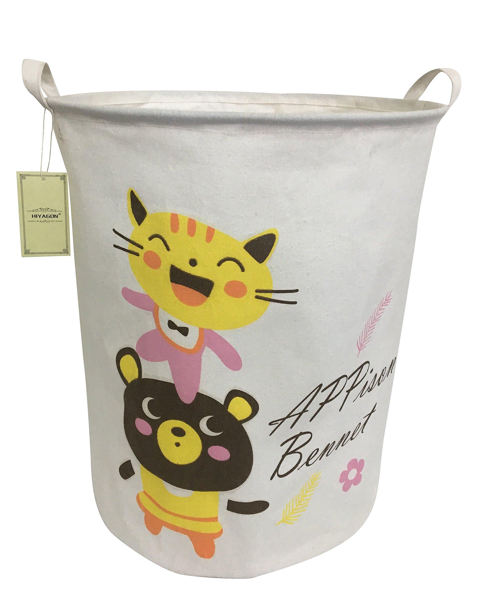 HIYAGON Large Laundry hamper with Handles-Canvas Storage Basket for Kids Room Storage Bin,animal hamper,toy hamper 19.7×15.7(cartoon)
