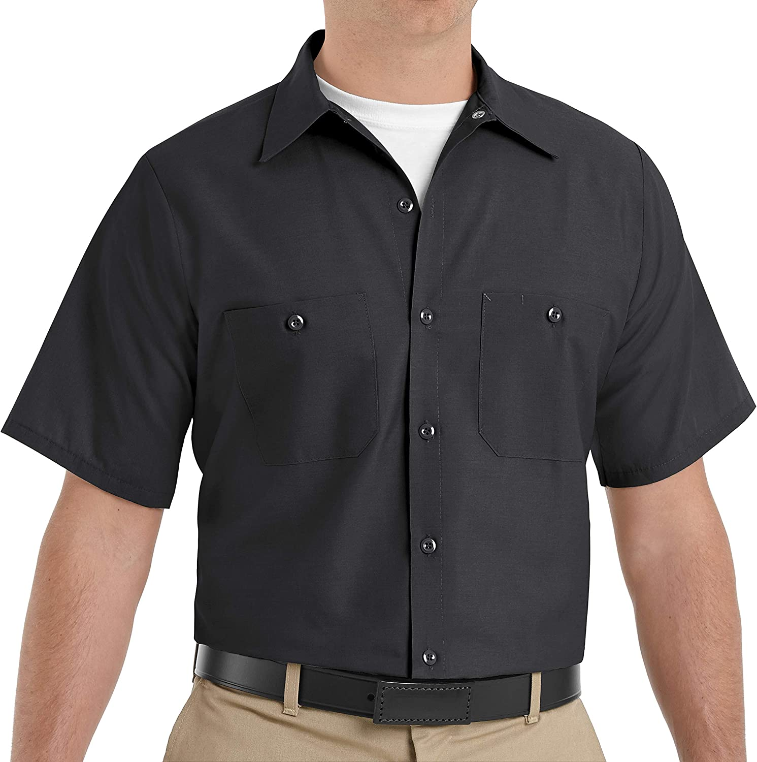 Red Kap Men's Industrial Work Shirt, Regular Fit, Short Sleeve: Clothing