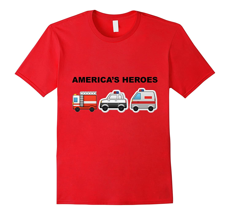 Emoji T-Shirt - Fire Truck Police Car Ambulance Army Soldier-Art