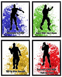 Video Gamer Themed Dance Moves Emote Fort Battle Drop Royale Party Supply Art Prints (Bathroom Decor)
