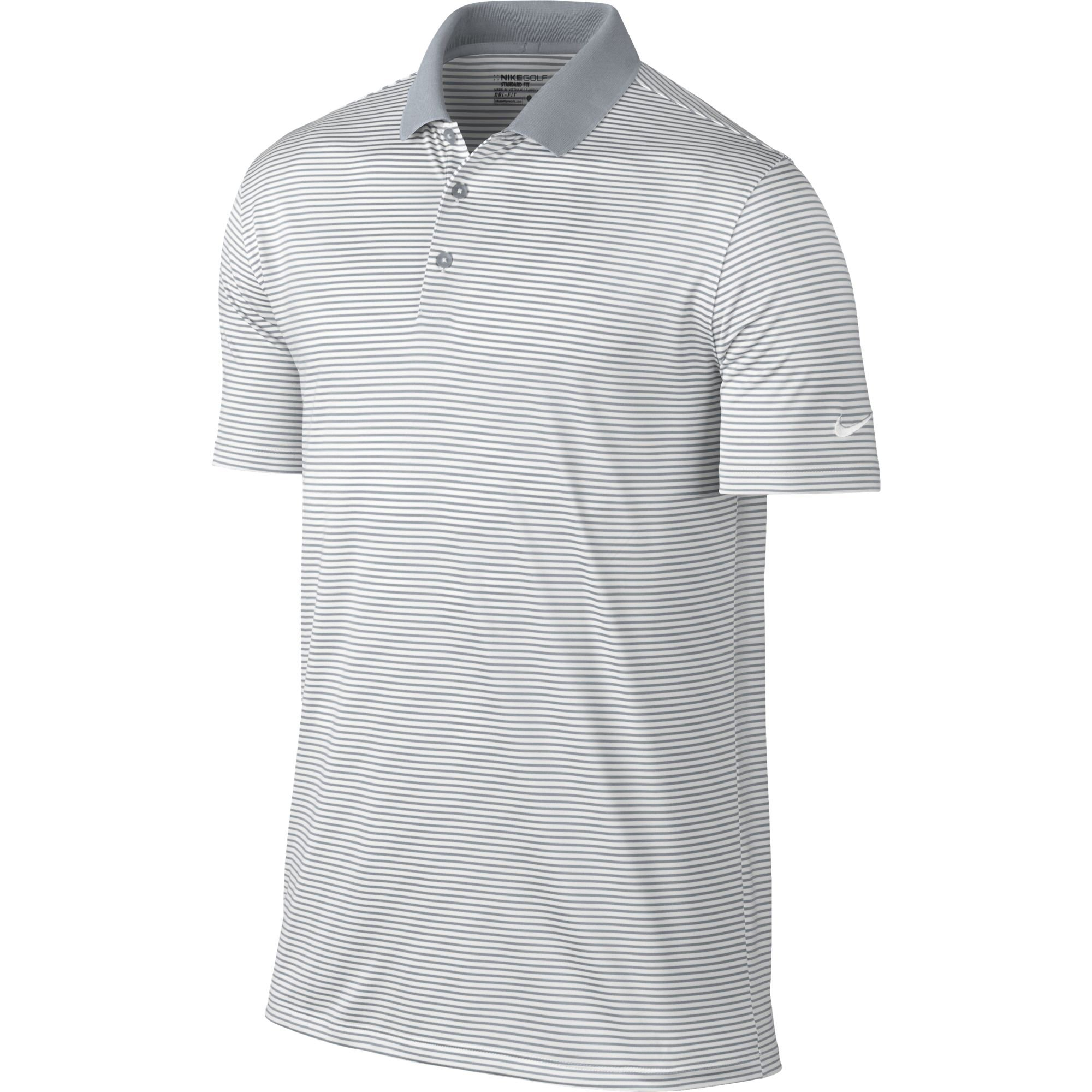NIKE Men's Dry Victory Stripe Polo, White/Wolf Grey/Black, Small