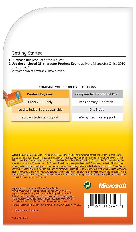 Amazon.com: Microsoft Office Home & Business 2010 Key Card - 1PC/1User
