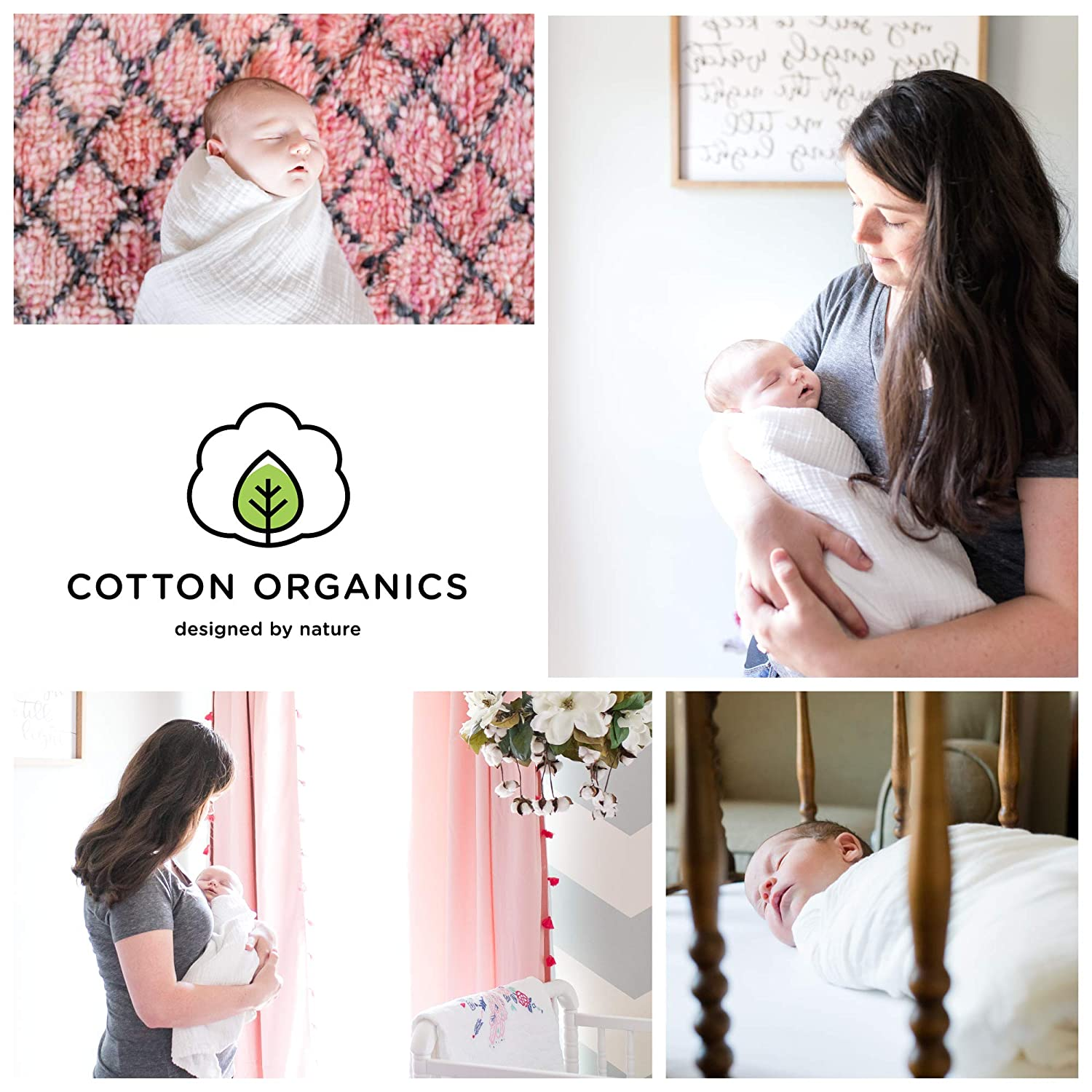 Extra Soft and Hypoallergenic Organic Cotton Unisex White Crib Sheet for Boys or Girls Set of 2 COTTON ORGANICS Baby Crib Fitted Sheets