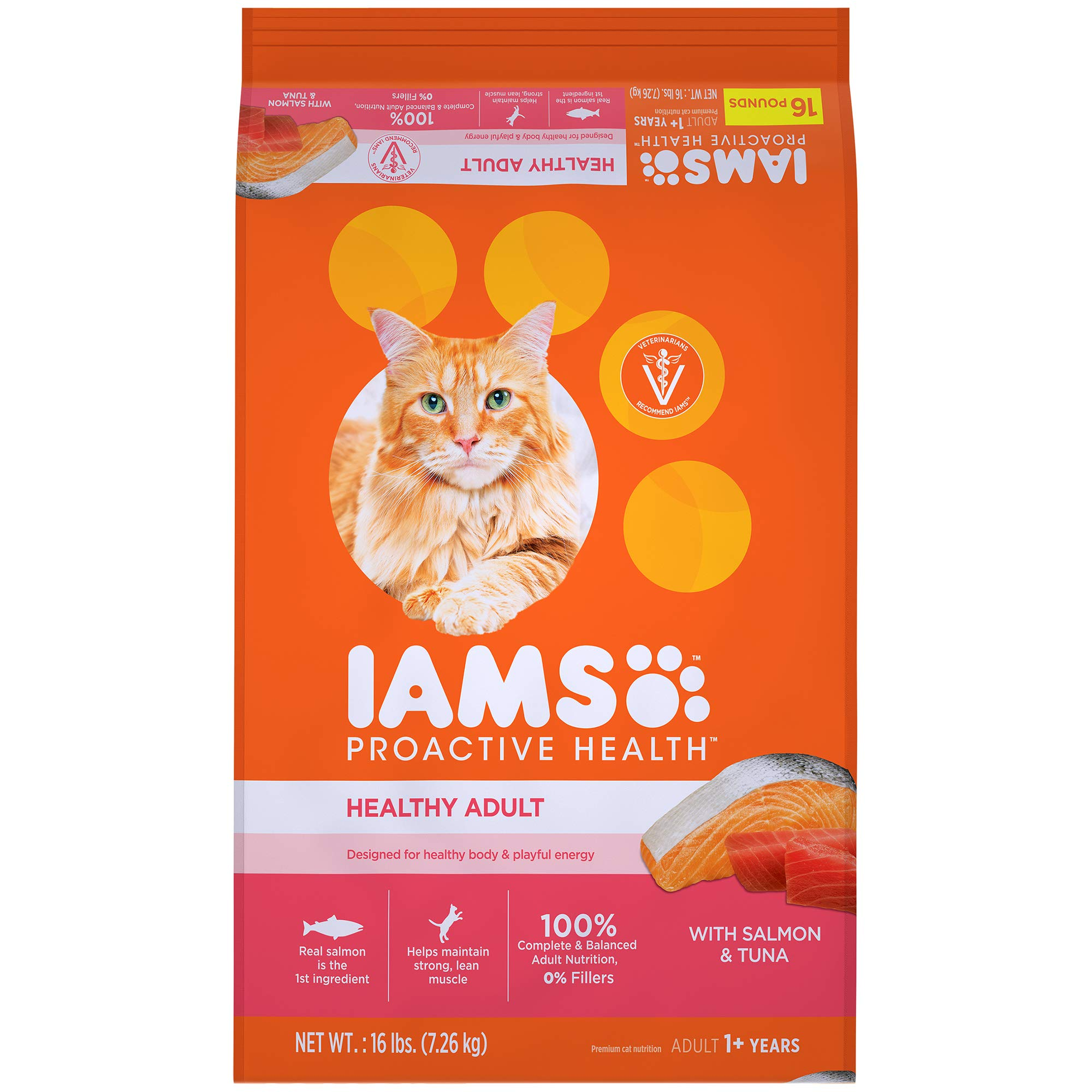 IAMS PROACTIVE HEALTH Adult Healthy Dry Cat Food with Salmon and Tuna, 16 lb. Bag