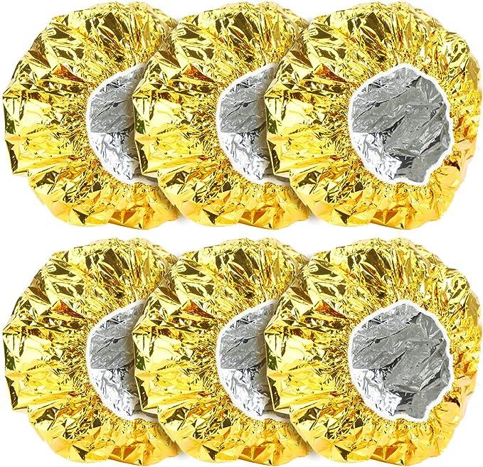 Image of6 piezas de tapas de papel de aluminio, tapas de ducha Segbeauty para acondicionamiento profundo Goma elástica reutilizable para el acondicionador Penetración Spa termal - Dorado