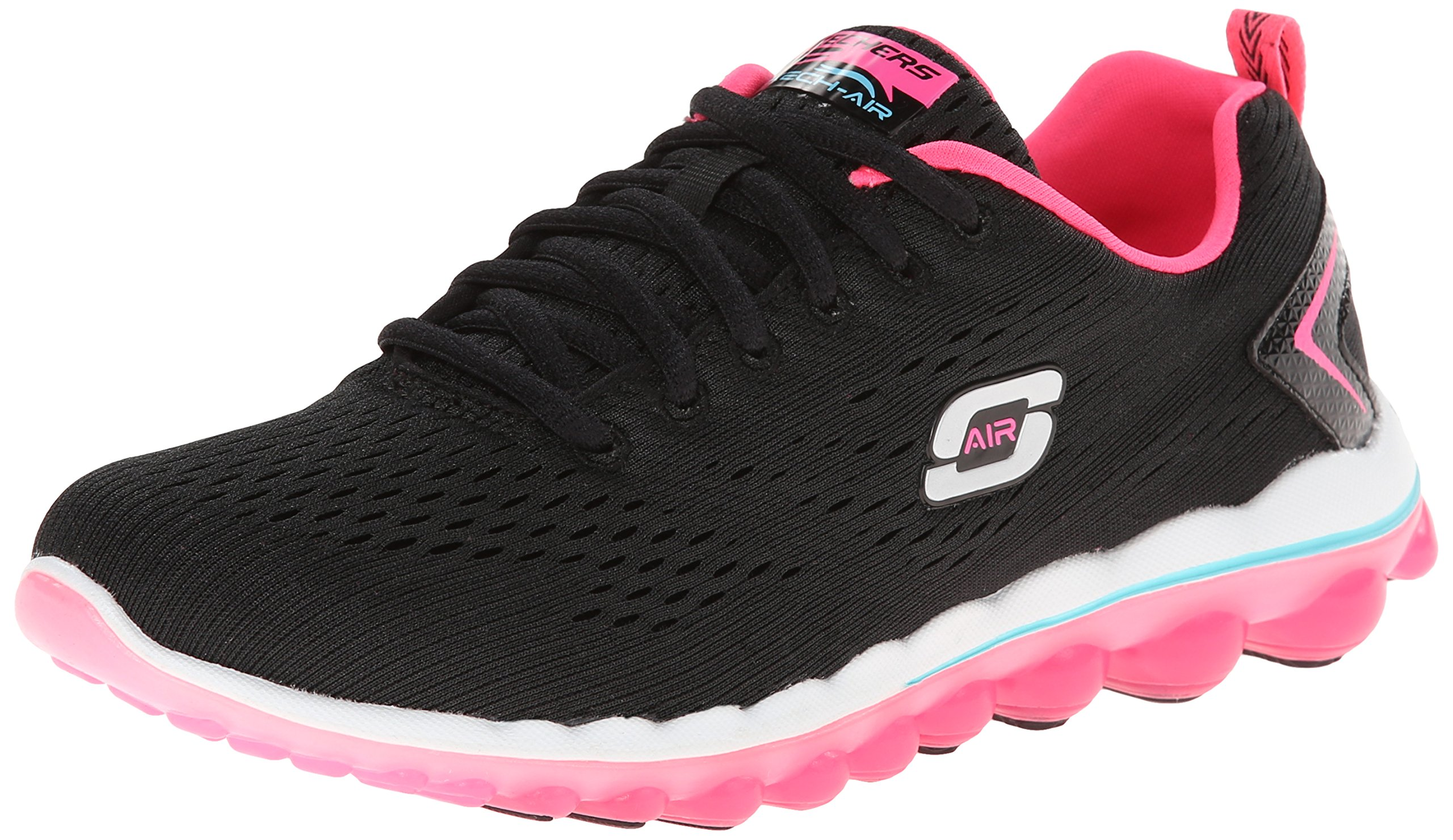 Skechers Sport Women's Skech Air Aim High Fashion Sneaker,Black Mesh/Hot Pink Trim,9 M US