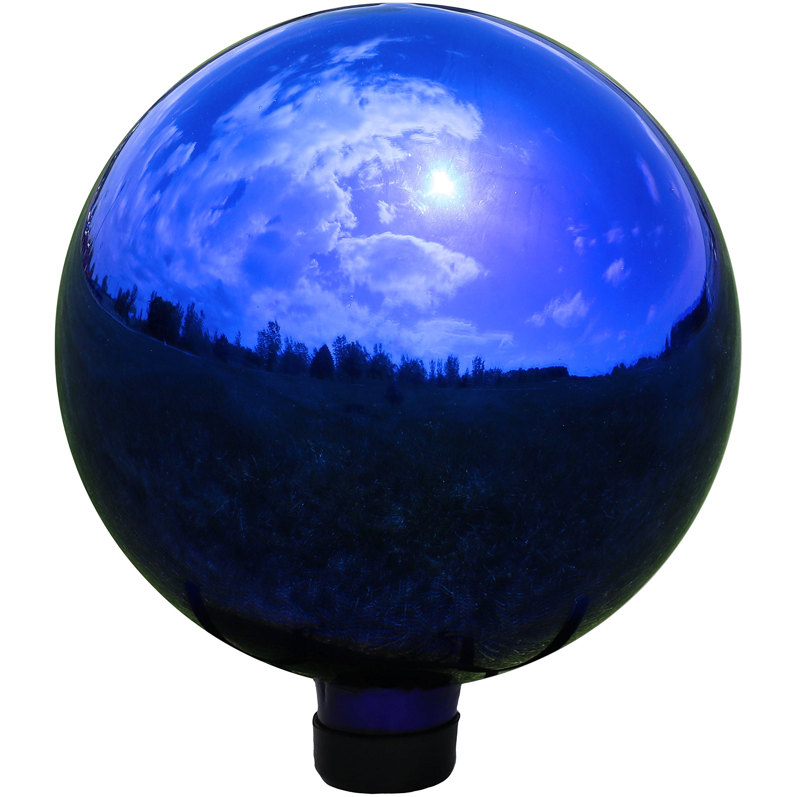 Sunnydaze Garden Gazing Globe Ball, Outdoor Lawn and Yard Glass Ornament, Reflective Blue Mirrored Surface, 10-Inch