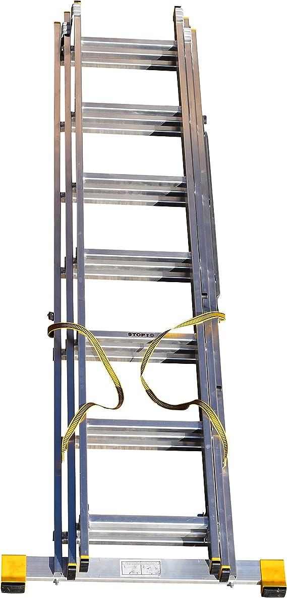 BPS Access Solutions - Escalera extensible de 3 secciones (con estabilizador integrado, 4,07 m): Amazon.es: Bricolaje y herramientas