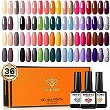 Gel Nail Polish 36 Pcs Colors 7ML Fall Holiday Gel Polish Soak Off Gel Nail Kit Glitter Nail Art Starter Kit Beauty Gifts Set