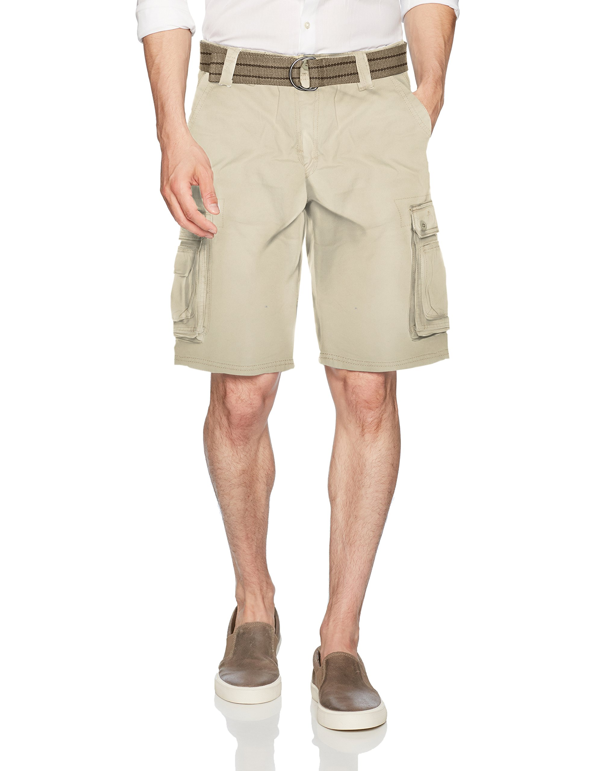 Lee Men's New Belted Wyoming Cargo Short, Stone, 38