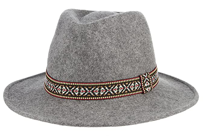 0b88994164e47 Gemvie Women s Wool Felt Trible Print Band Warm Fedora Trilby Porkpie Hat  Gray