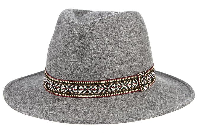 MARRYME Sombrero Fedora de Lana Mujer Panamá Invierno con Banda Gris   Amazon.es  Ropa y accesorios b0facb45146
