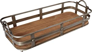 "02976 Cooperstown Craftsman Rectangle Serving Tray with Handles Home and Kitchen Multi-Purpose Serveware for Coffee Table, Dinner, Breakfast, Food, Farmhouse Decor 19"" x 8.5"" x 4.5"" Wood"