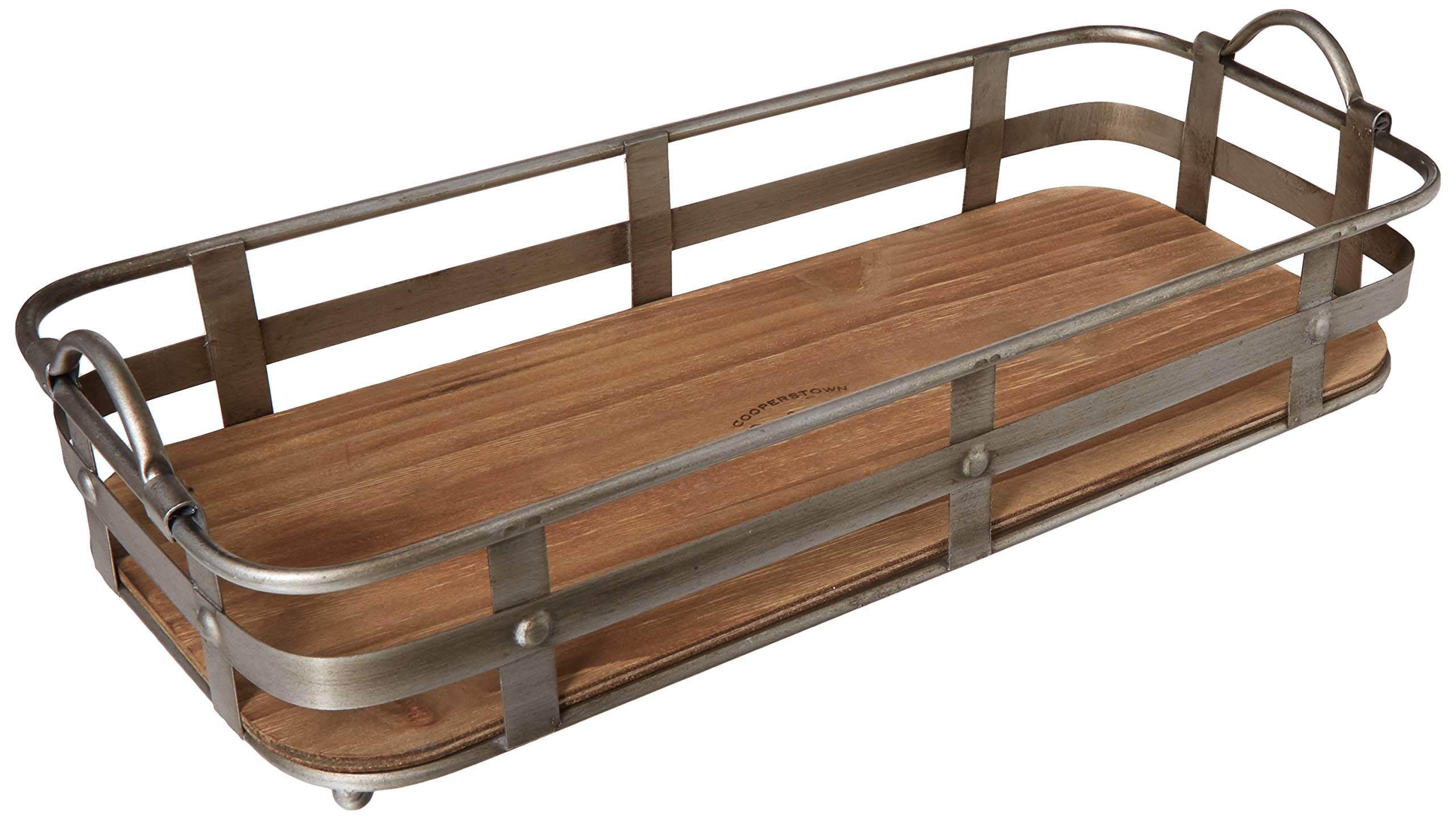 Circleware 02976 Cooperstown Craftsman Rectangle Serving Tray with Handles Home and Kitchen Multi-Purpose Serveware for Coffee Table, Dinner, Breakfast, Food, Farmhouse Decor 19'' x 8.5'' x 4.5'' Wood by Circleware