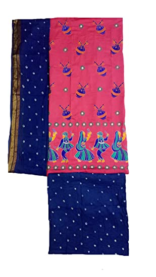 a7a6a02f8d IndiaCarvan Women's Kutch Embroidered and Bandhani Cotton Salwar Suit  Material (Pink, Free Size)