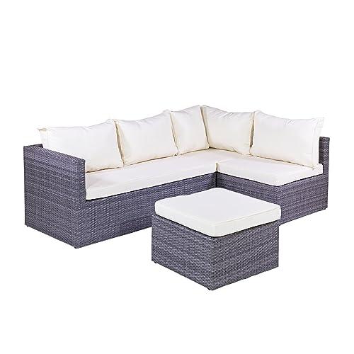 Calabria Grey Rattan Corner Sofa With Luxurious Thick Grey
