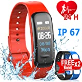 Xenzy Fitness Tracker HR for Men Women Kids - Smart Watch with Heart Rate Blood Pressure Blood Oxygen Monitor Pedometer Sleep Monitor Calorie GPS Tracker Sport Outdoor Activity Wristband, Red