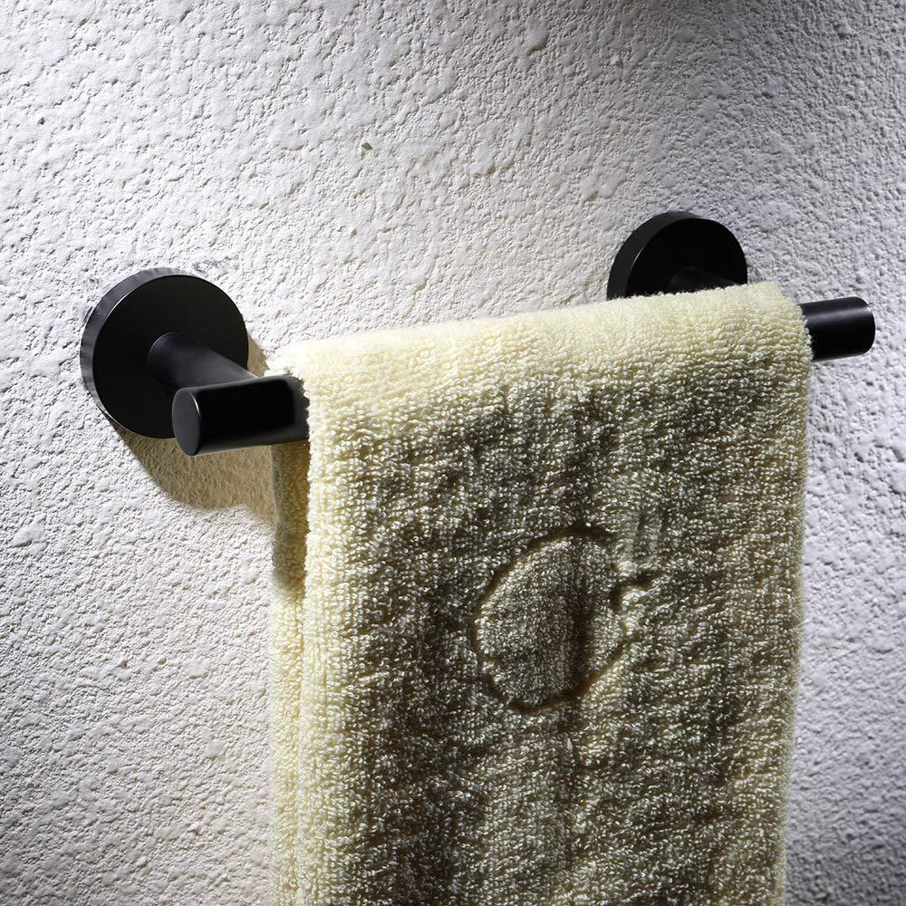 Yingqible Handtuchring SUS 304 Edelstahl Mattschwarzes Finish Handtuchhalter Wandmontage Handtuchhalter Kleiderhaken