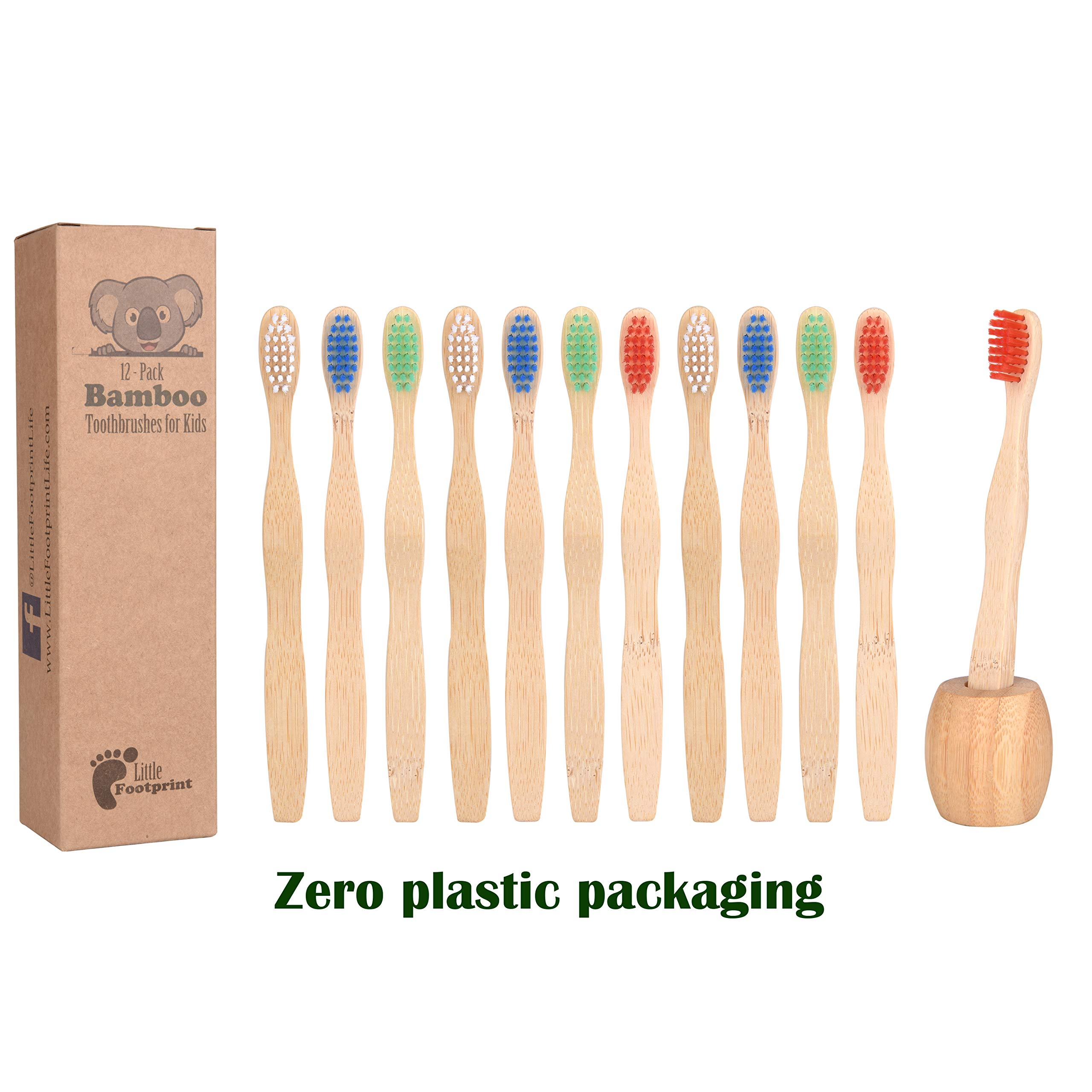 Bamboo Toothbrush for Kids   12 Pack toothbrushes + Tooth Brush Holder   Biodegradable Compositable Natural Wood   Non Toxic Soft BPA Free Bristles   by Little Footprint