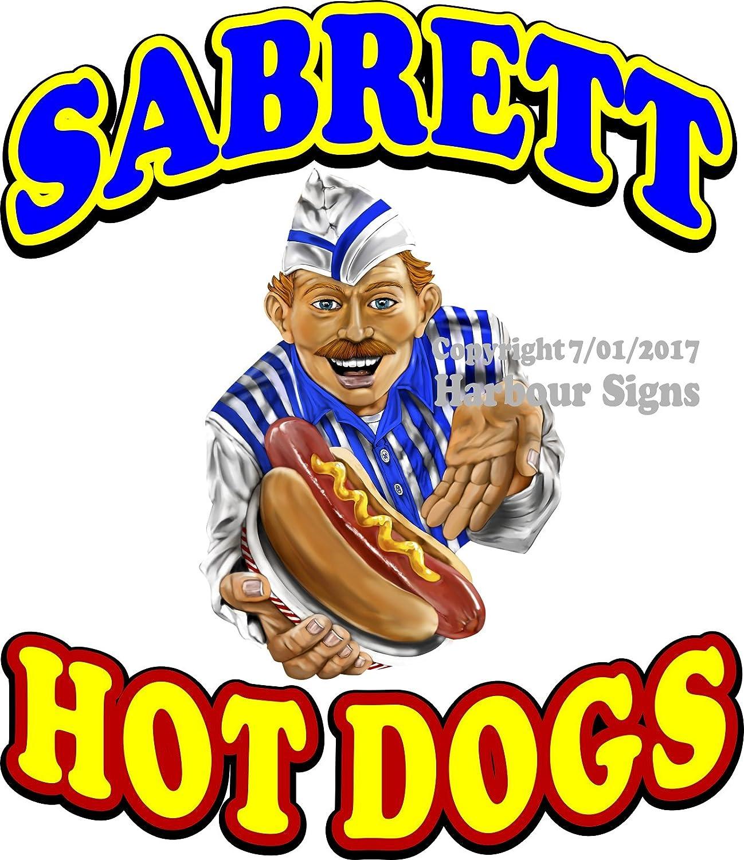 Harbour Signs Decal Hot Dog Sabrett for Food Concession Restaurant Truck Exterior Vinyl Sign (14