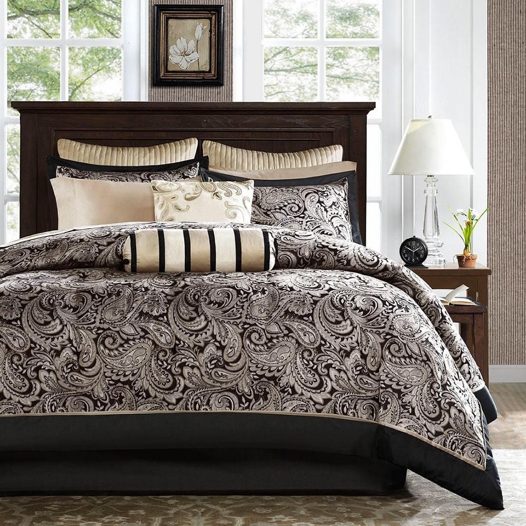 B072N42YM4 12ピースリバーシブルブラックGoldenフルジャカードペイズリー掛け布団セット、トープカーキSheen織り大人用ベッドマスター寝室ボヘミアンヒッピーモダンコンテンポラリースタイリッシュなカラフルなエレガントな、ポリエステル
