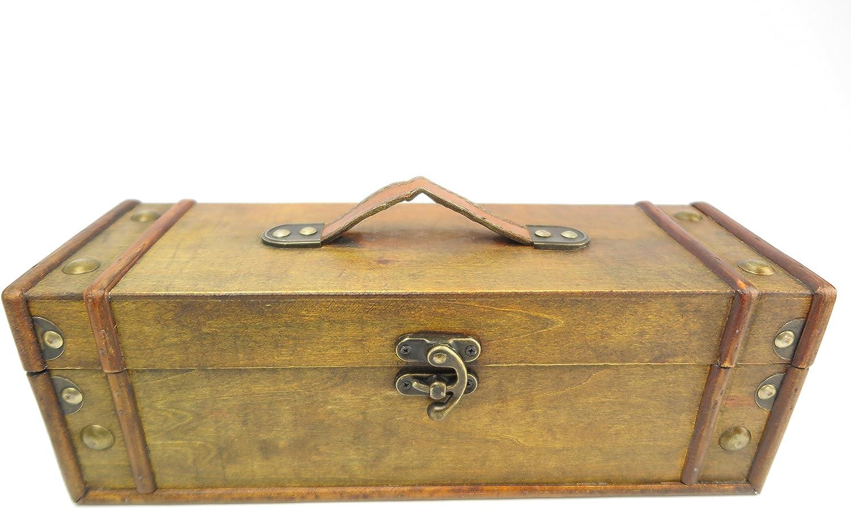 Maletín de aluminio para transportar vino caja de vino de madera caja de vino paquete de accesorios para vino baúl madera caja de vino tinto vino blanco regalo: Amazon.es: Hogar