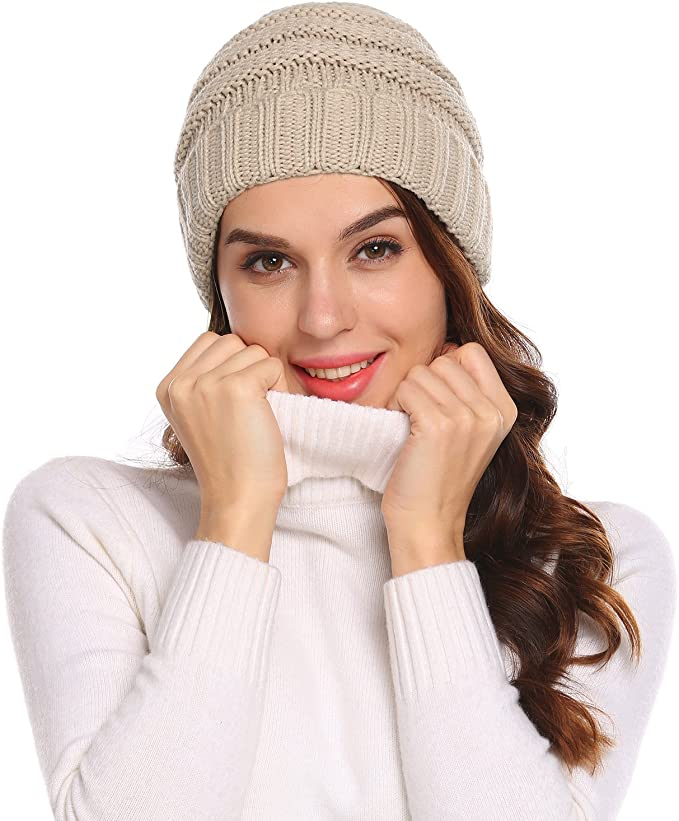 White Chunky Knitted Beanie Hat Winter Wooly Ski Cap Heavy Ribbed Knit Design