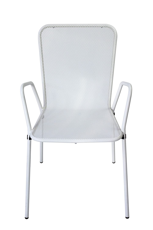 AVANTI TRENDSTORE - Fiona - Sedia con poggiabraccia in acciaio, bianco, ca. 55x86x63 cm
