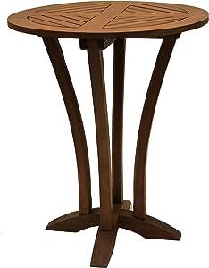 Outdoor Interiors Eucalyptus 30-Inch Diameter Round Bar Table