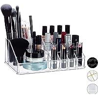 Relaxdays Organizador de Maquillaje con 16 Compartimentos, Acrílico