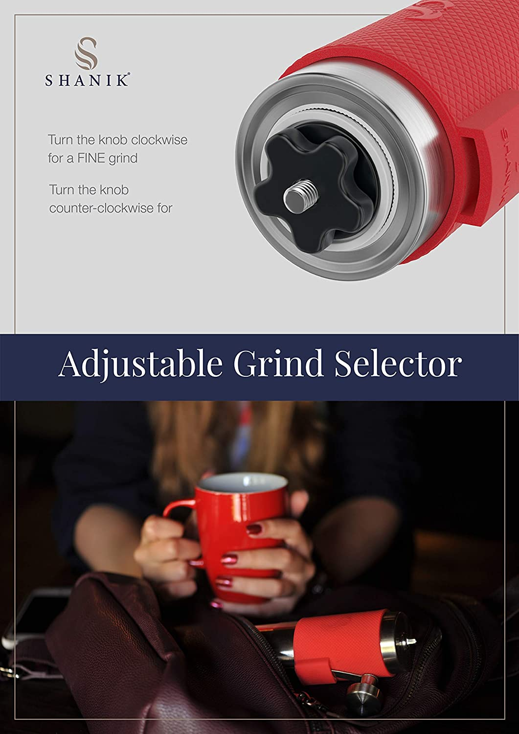 Portable Burr Coffee Grinder Silicone Lid to Keep Coffee in Container Conical Ceramic Burr for Precision Brewing Premium Quality Stainless Steel Manual Coffee Grinder