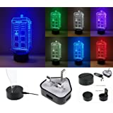 PERSONALISED DOCTOR WHO TARDIS DESIGN COLOUR CHANGING 3D OPTICAL ILLUSION NIGHT LIGHT COMPLETE WITH LIGHT BASE, CABLE AND PLUG