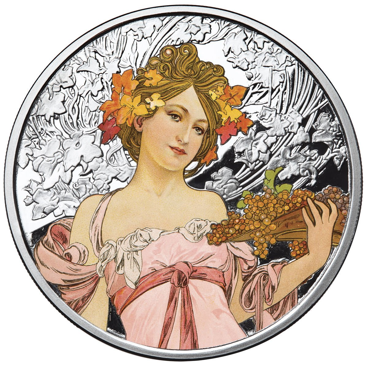 1 oz Proof Colorized Silver Round 4th in Series Champagne White Star Mucha Art: New w//CoA