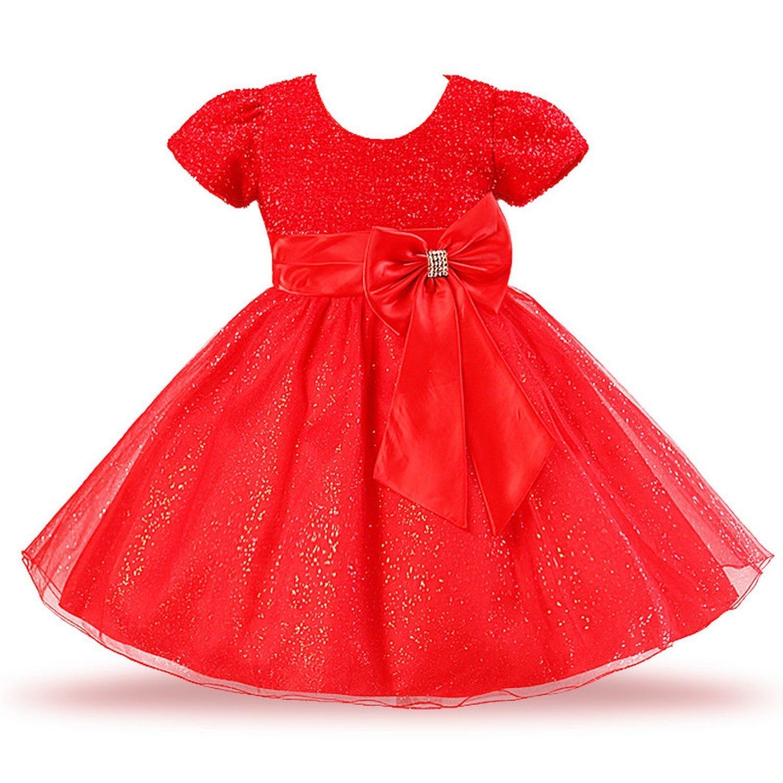 dbca6eccc078 Amazon.com  Aancy New Big Bow Dress for Girls Rose Bow Flower Girls  Princess Dress Girls Dresses for Summer Party Dress Girls Clothing