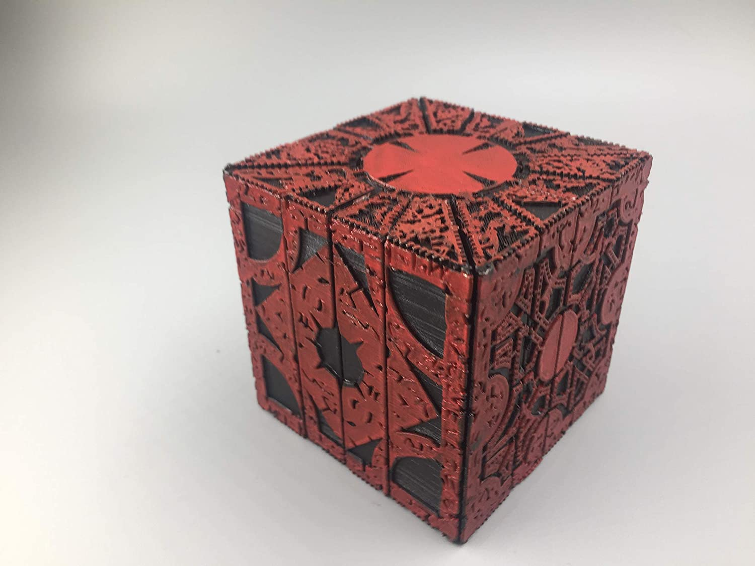 Hellraiser puzzle box custom Blood Red 1:1 replica moving lament configuration to star configuration pinhead puzzle box