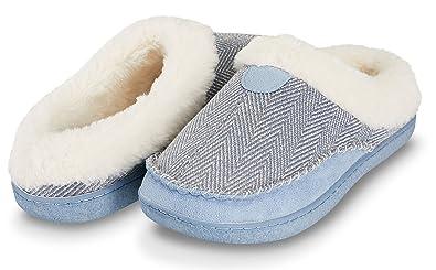 a6b5460f9e902 Floopi Womens Indoor Outdoor Herringbone Fur Lined Clog Slipper W/Memory  Foam (S,