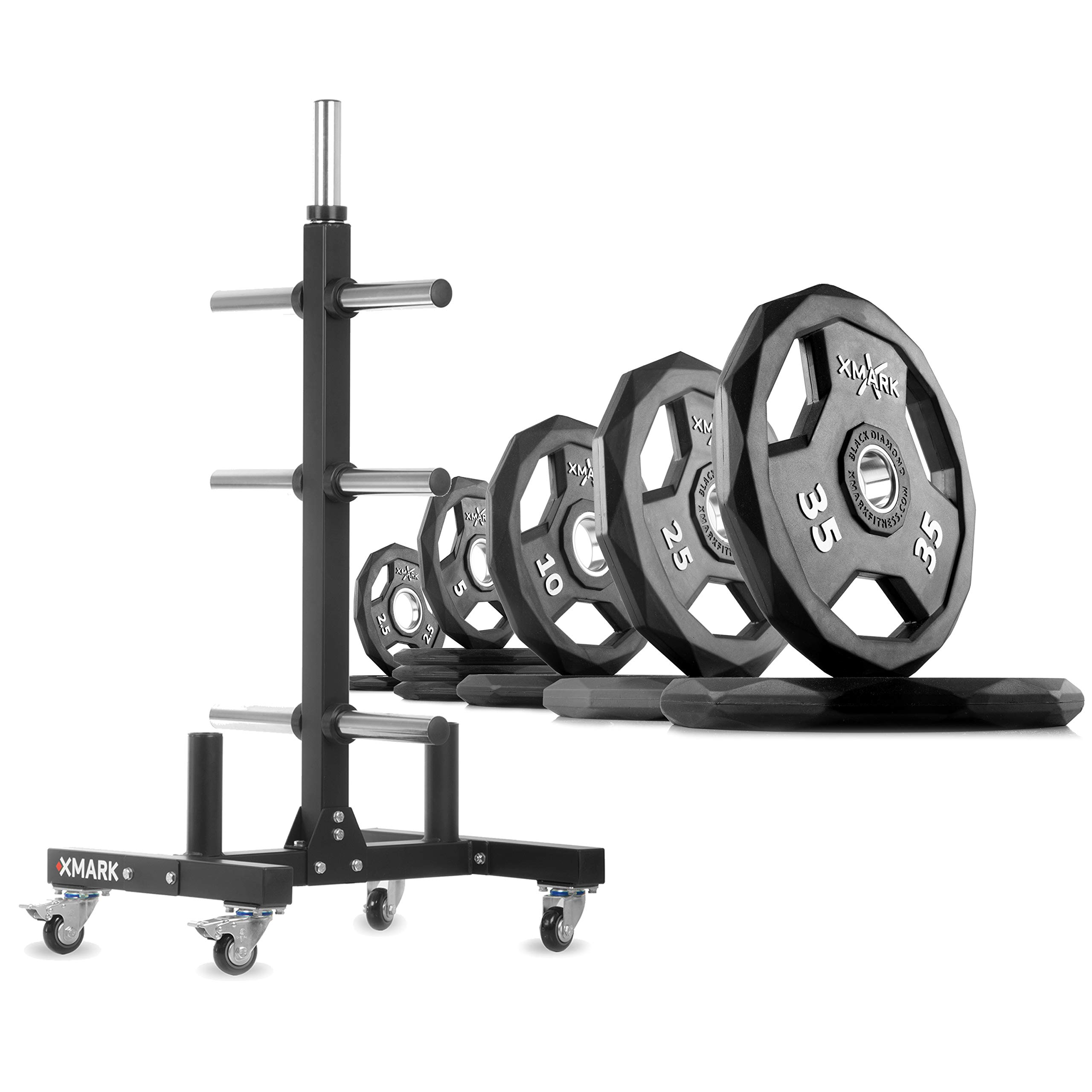 XMark XM-9055 Commerical Olympic Weight Tree Plus a 165 lb Set of Black Diamond Olympic Plates by XMark