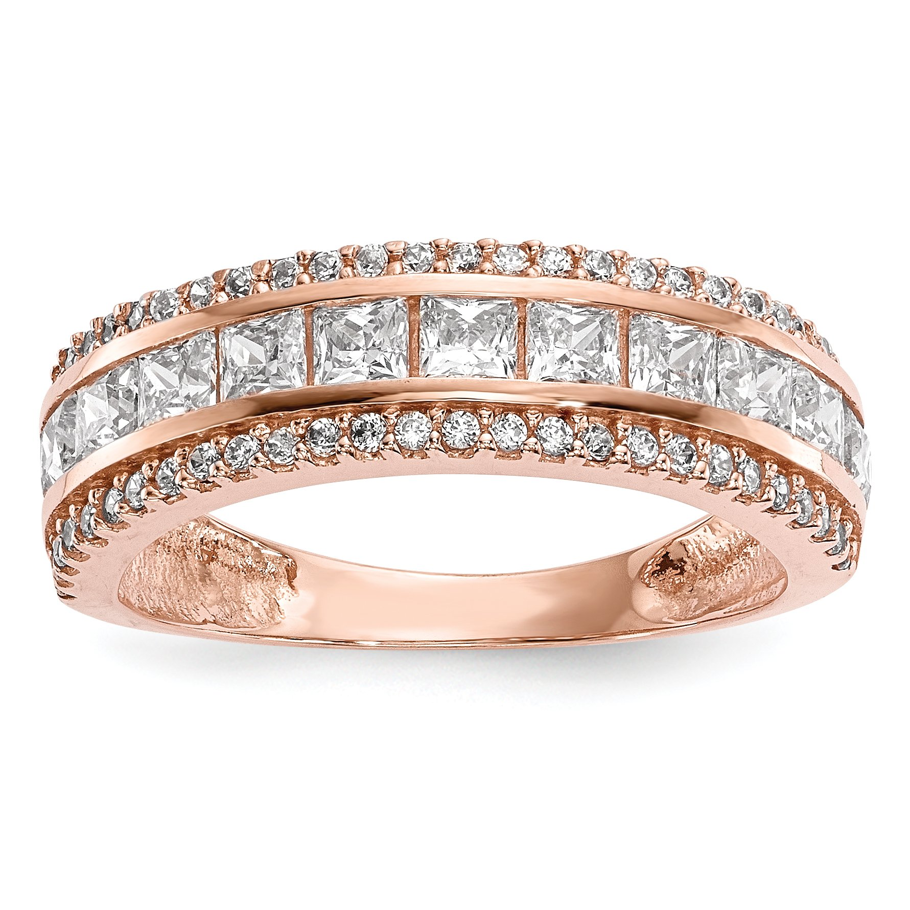 ICE CARATS 10k Tiara Collection Rose Gold Cubic Zirconia Cz Band Ring Size 7.00 Yc Fine Jewelry Gift Set For Women Heart