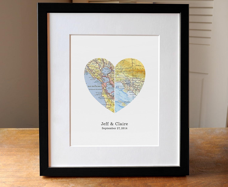 Amazoncom Personalized Wedding Gift Heart Map Art Print