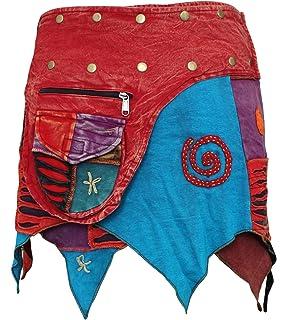 TATTOPANI Mini Falda con un elástico de la Pretina de impresión y ...