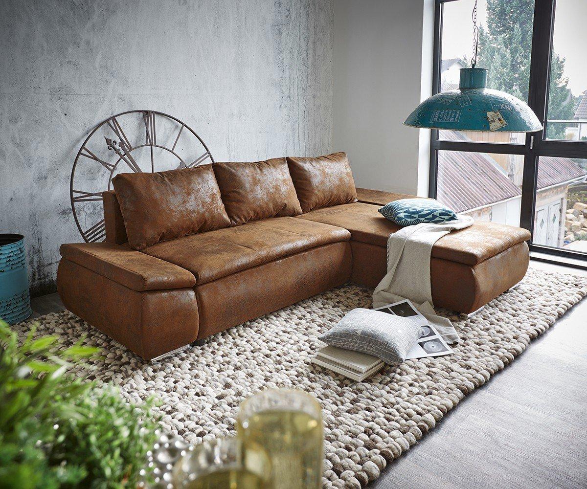 Couch Abilene Braun 260x175 mit Bettfunktion Ottomane variabel ...