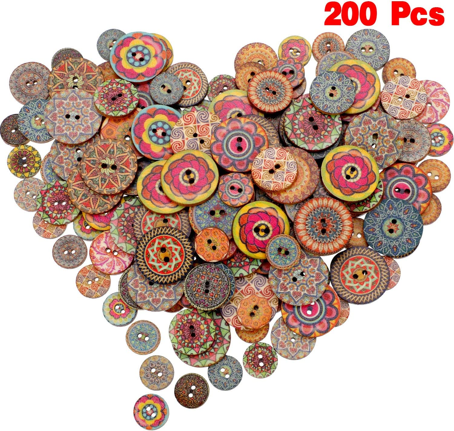 100 Pieces Wooden Decorative Buttons Mixed Round Flower Button with 100 Holes  for Sewing Crafting (Style 10, 105 mm/ 1000 mm/ 1005 mm)
